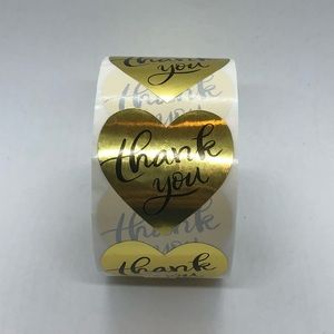 Other - 2/$20 Thank You Heart stickers gold foil roll 500